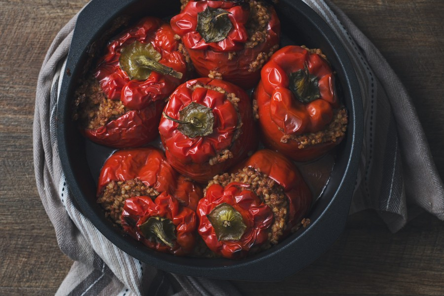 Brown Rice and Walnut Stuffed Capsicums