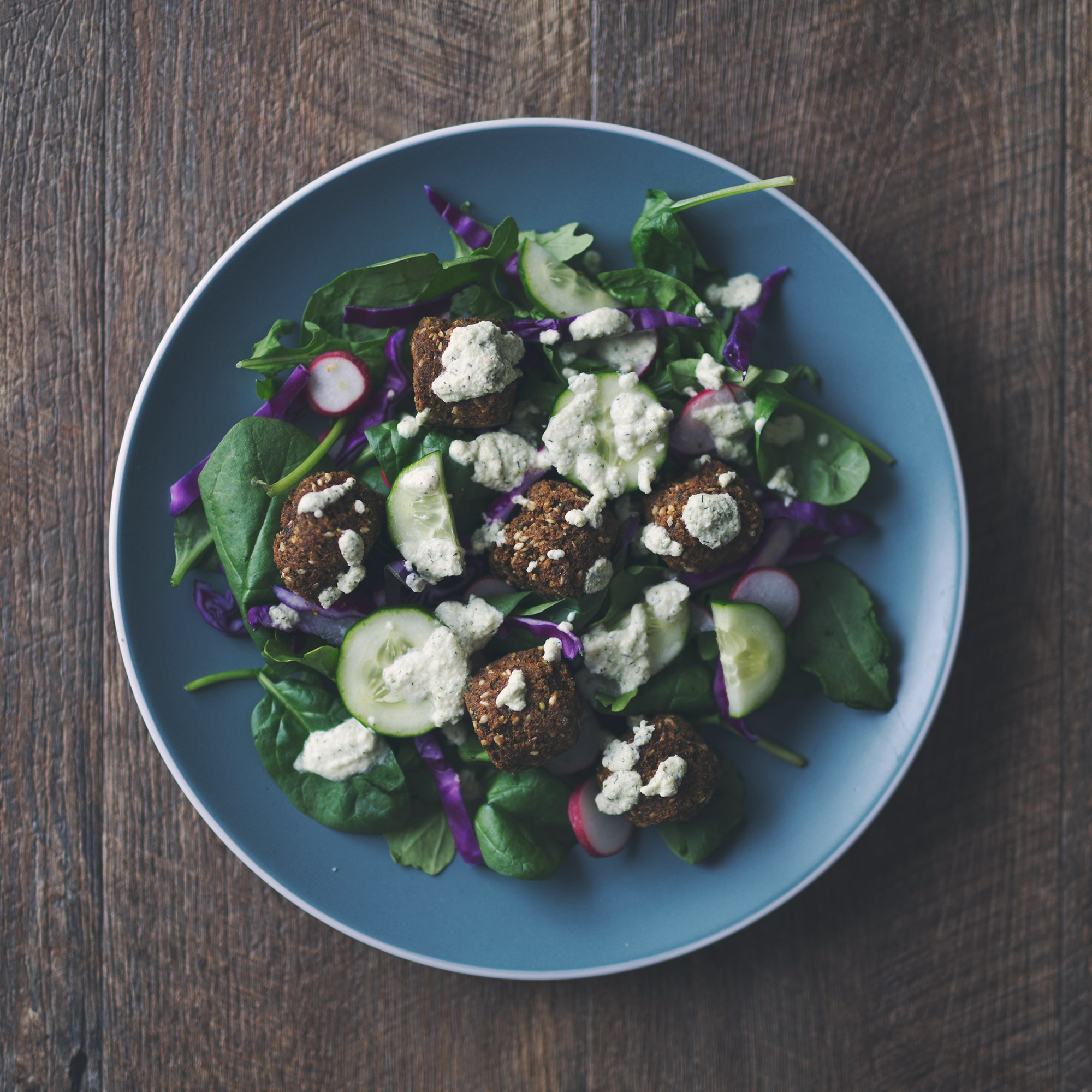 Falafel Salad with Vegan Tzatziki