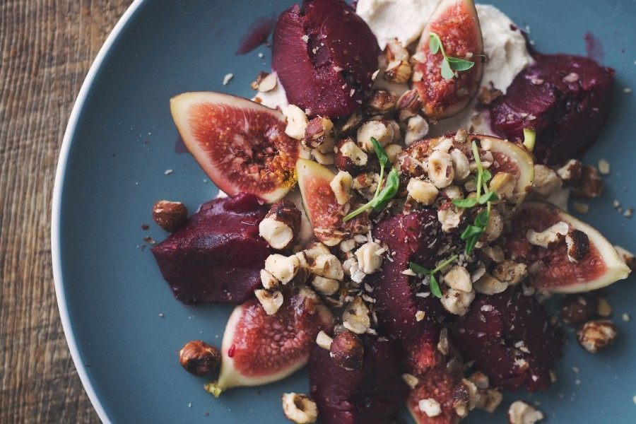 Poached Plum, Fig and Hazelnut Fruit Salad