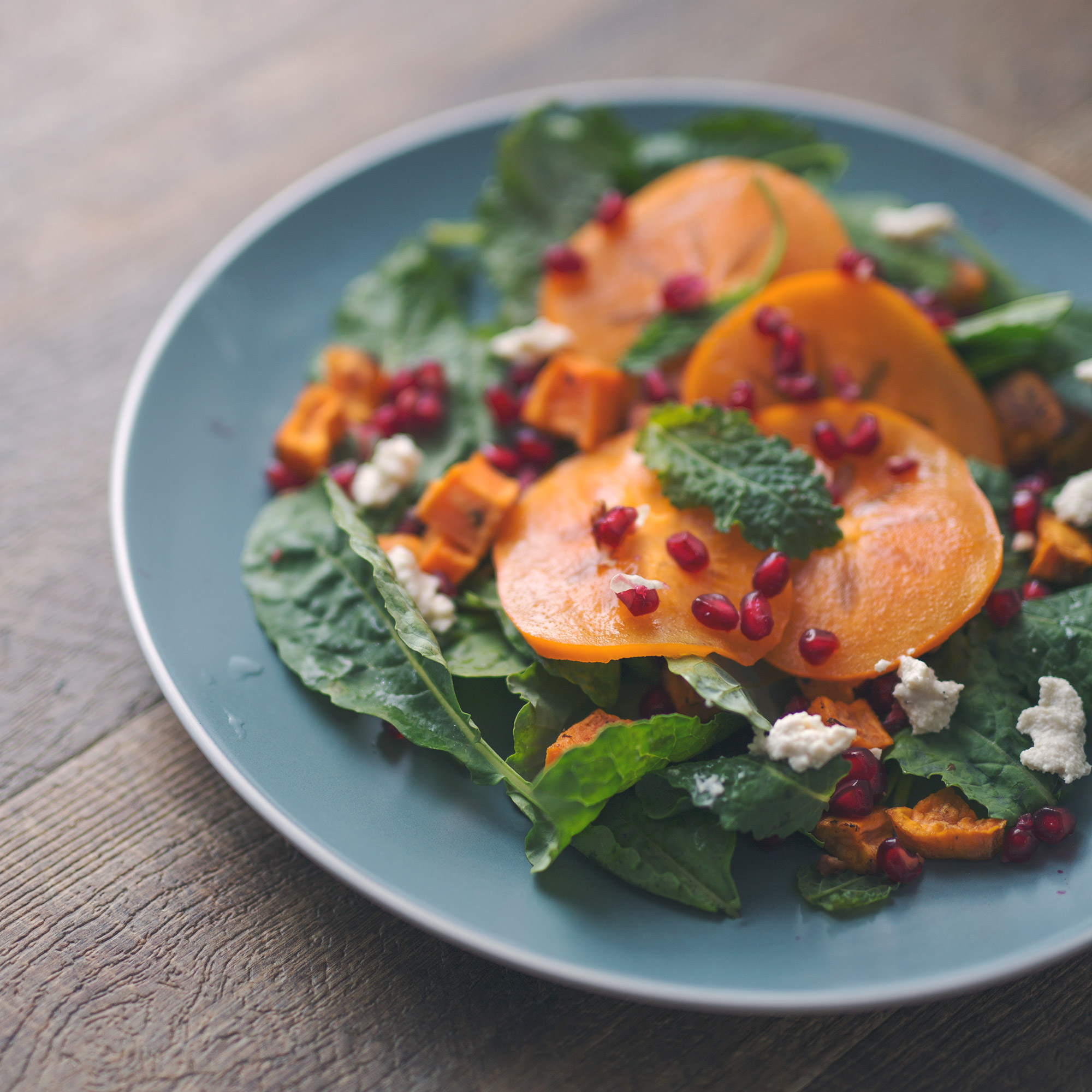 Sweet Potato and Persimmon Salad with Pomegranates