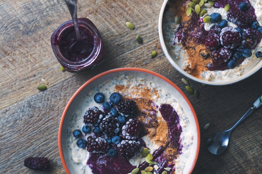 Vegan Overnight Oats with Blackberry Chia Jam Swirl