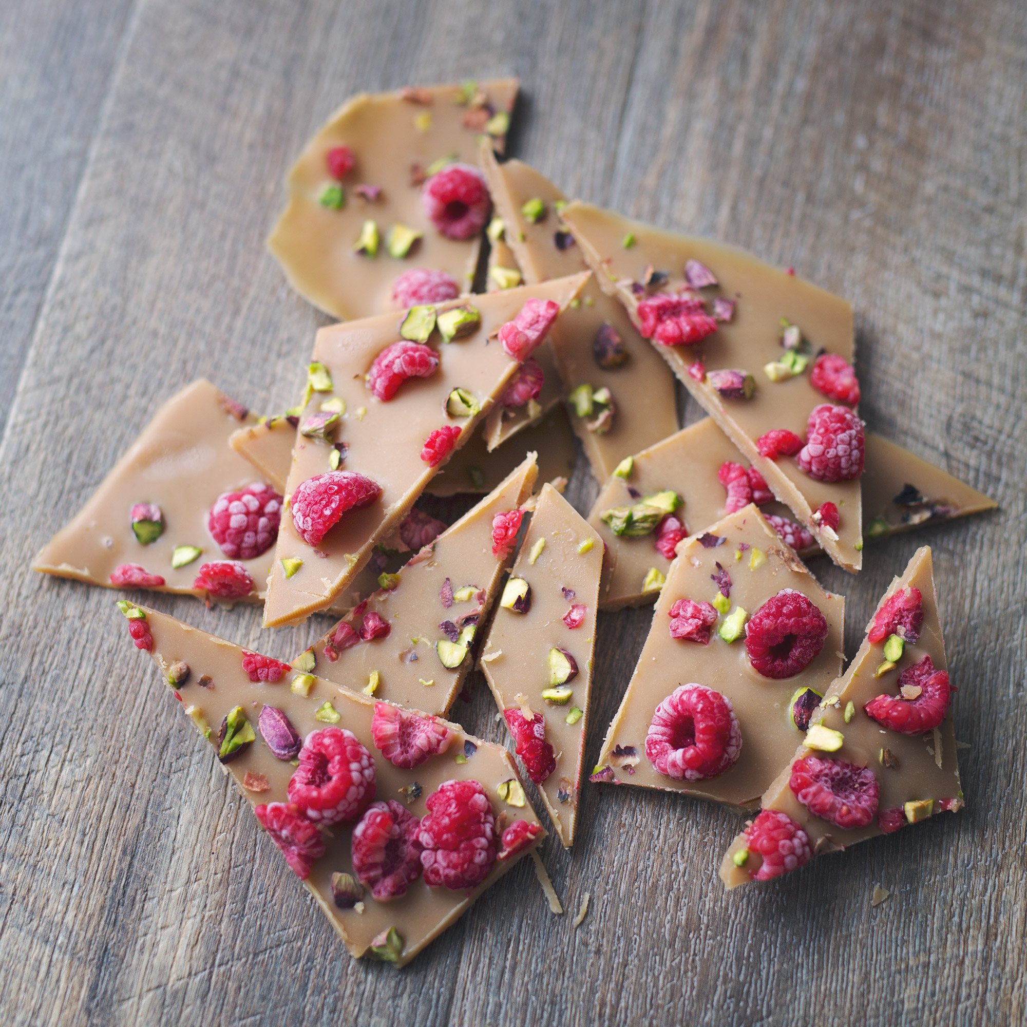 Rose White Chocolate Bark with Raspberries & Pistachio's
