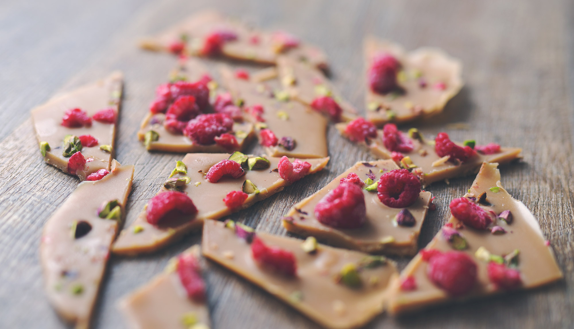Hazel & Cacao | Rose White Chocolate Bark with Raspberries ...