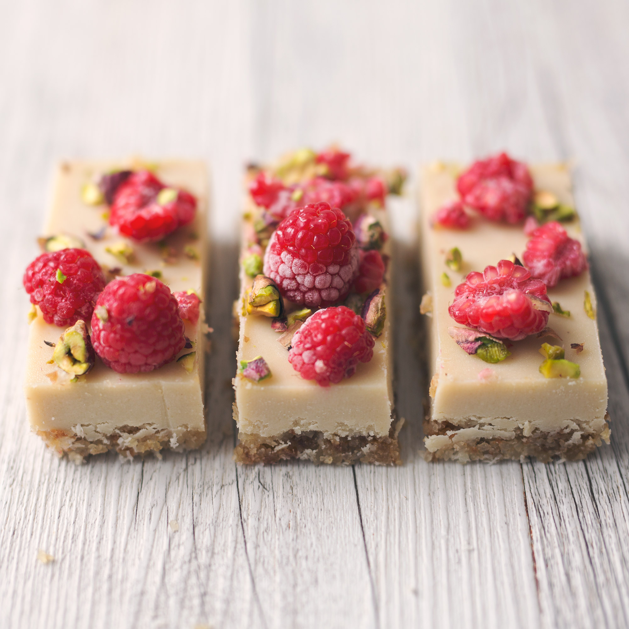 Mostly Raw Raspberry and Macadamia White Chocolate Slice