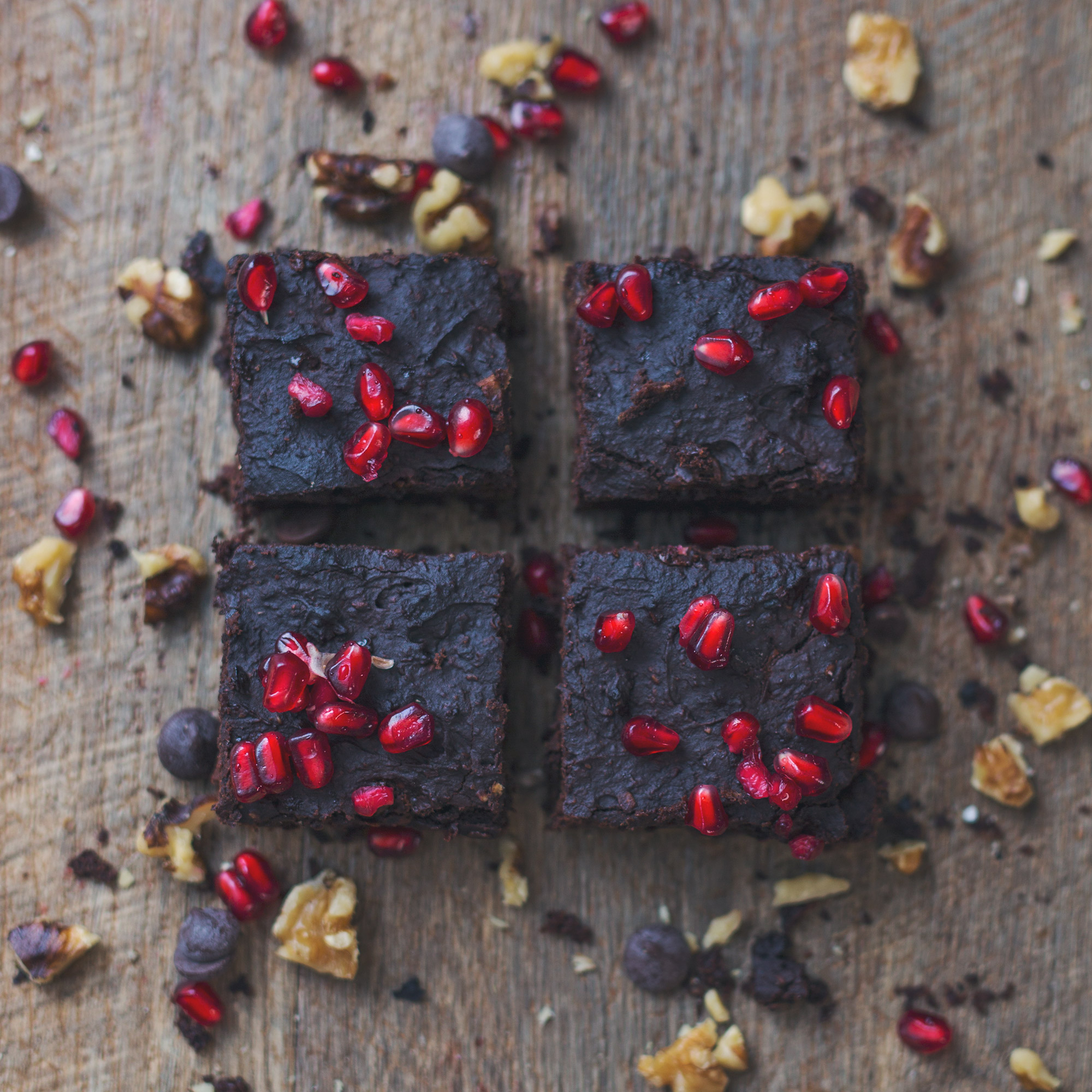 Vegan Adzuki Bean Chocolate & Walnut Brownies