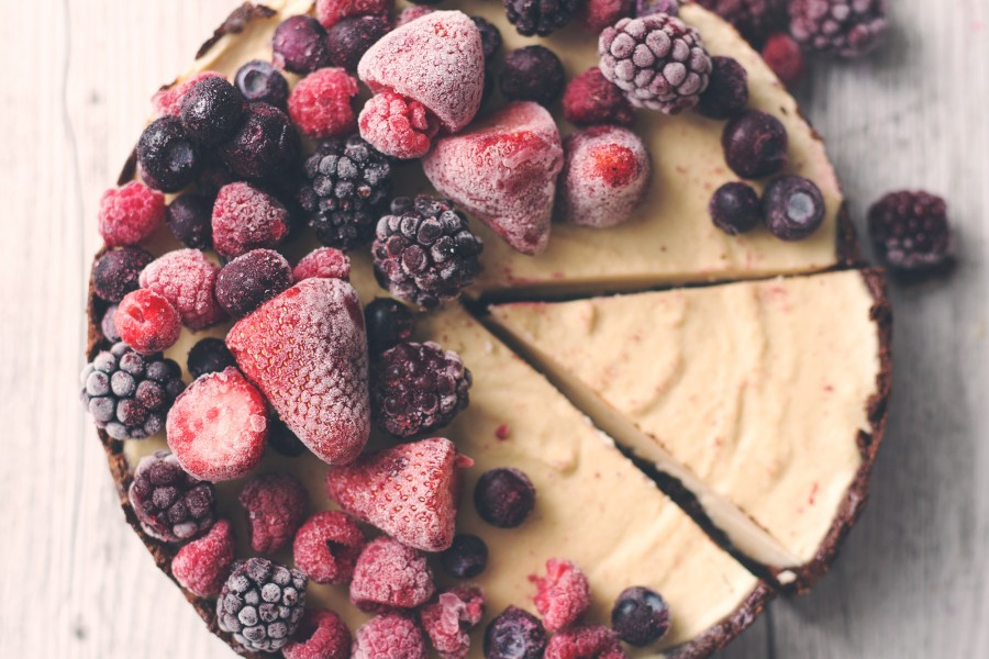 Raw Vegan Chocolate and Vanilla Cheesecake with Mixed Berries