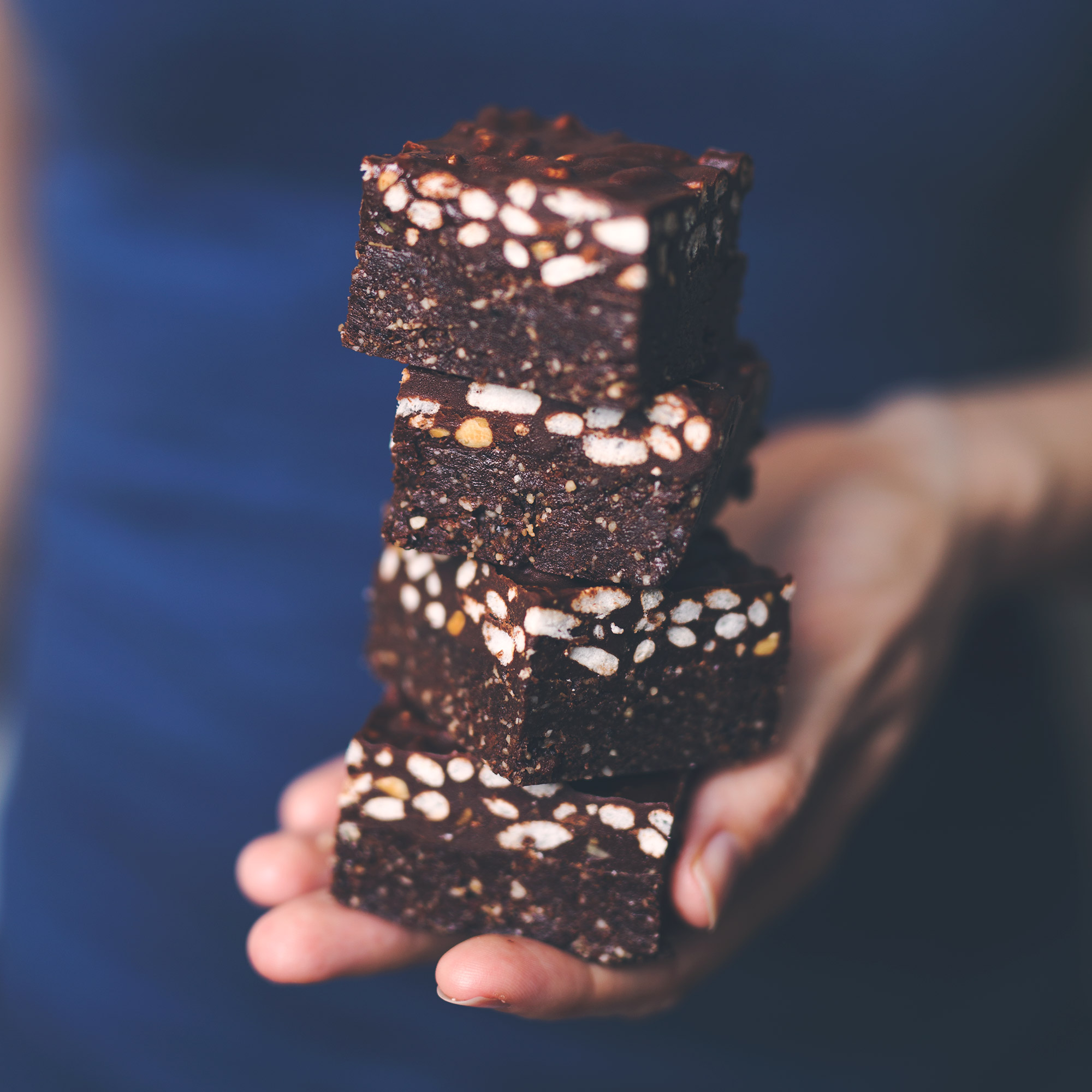 Mostly Raw Peanut Butter Brownie Crunch Bars