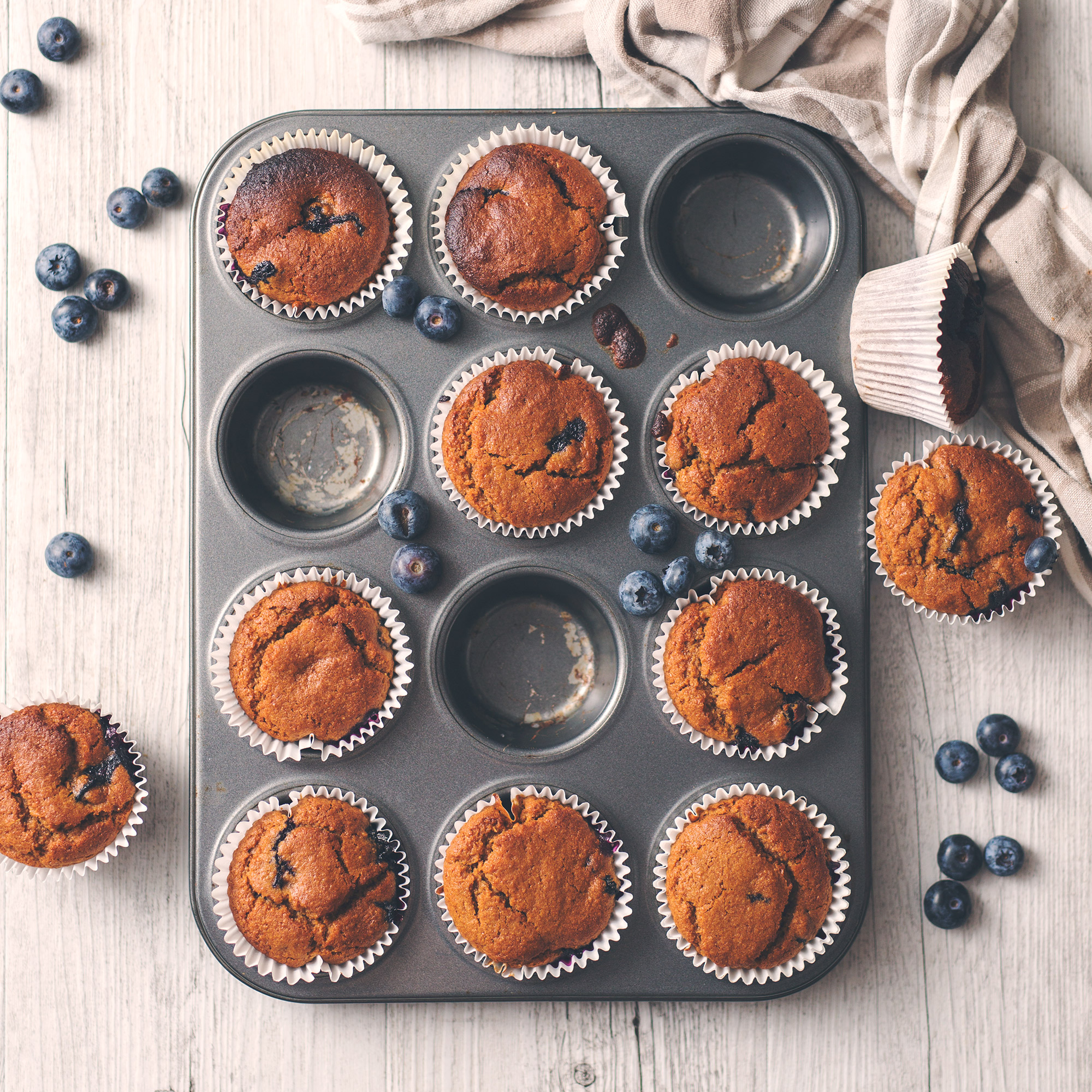 Vegan Blueberry Spelt Muffins with Coconut Yogurt