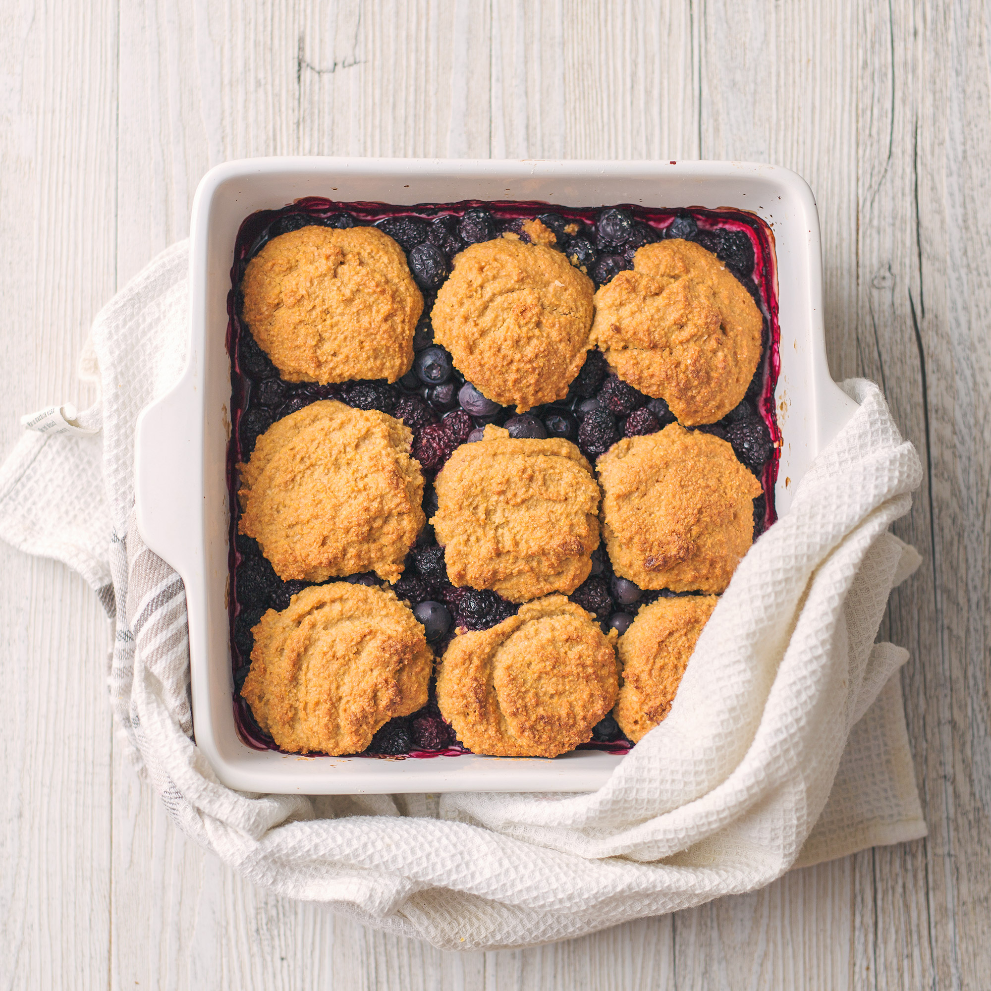 Blueberry & Blackberry Polenta Breakfast Cobbler