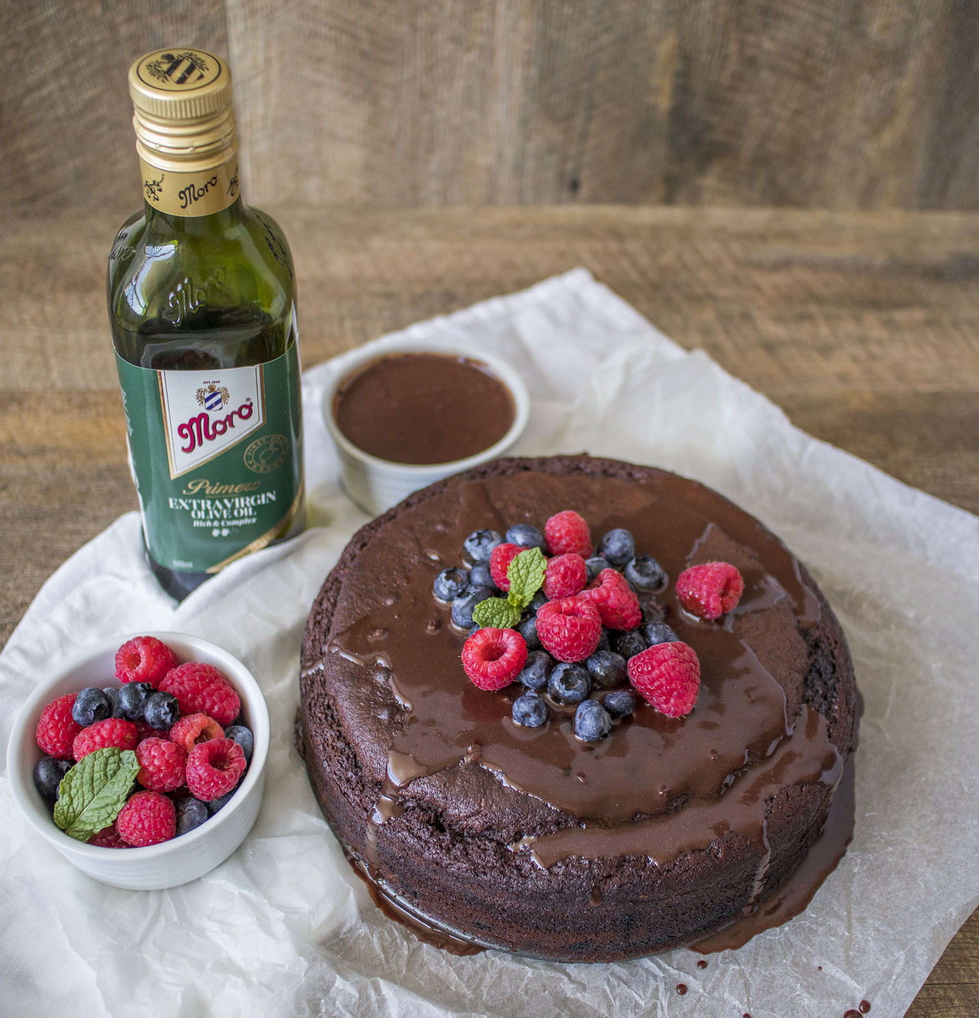 Vegan Chocolate Olive Oil Cake with Chocolate Olive Oil Sauce