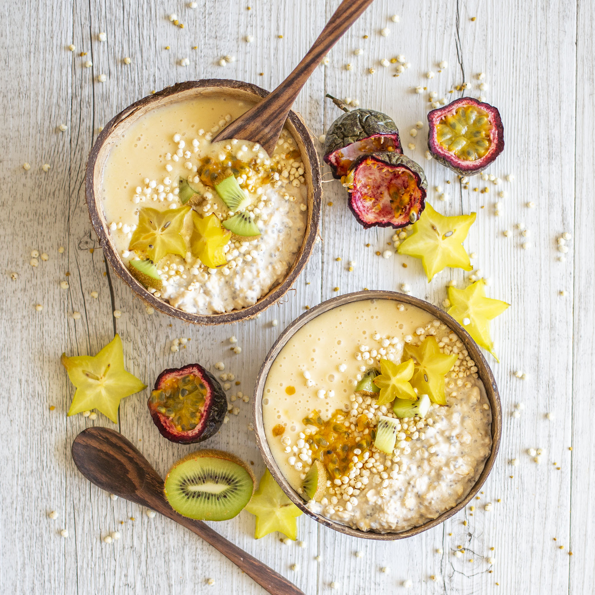 Tropical Vegan half and half Smoothie Oatmeal Bowl