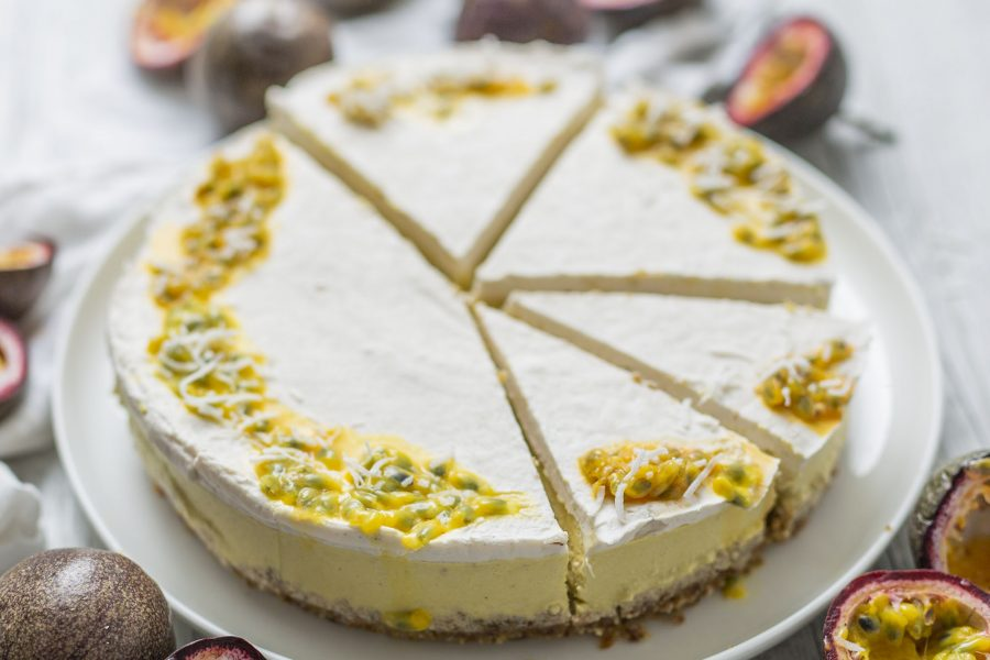 Raw Vegan Mango Coconut & Passionfruit Cheesecake