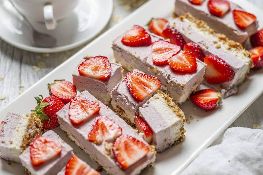 Raw Vegan Strawberry Cream Slice