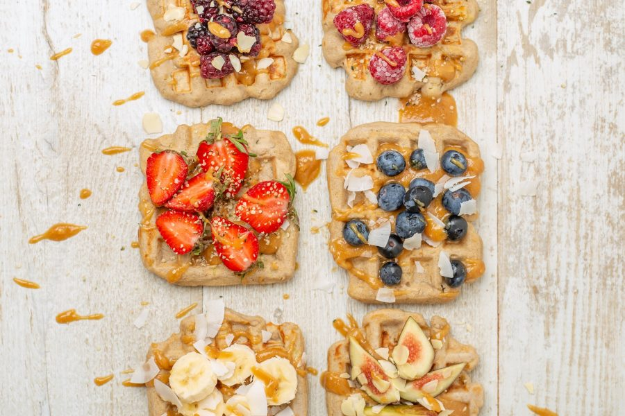Simple Vegan Spelt Banana Waffles with Peanut Butter Syrup