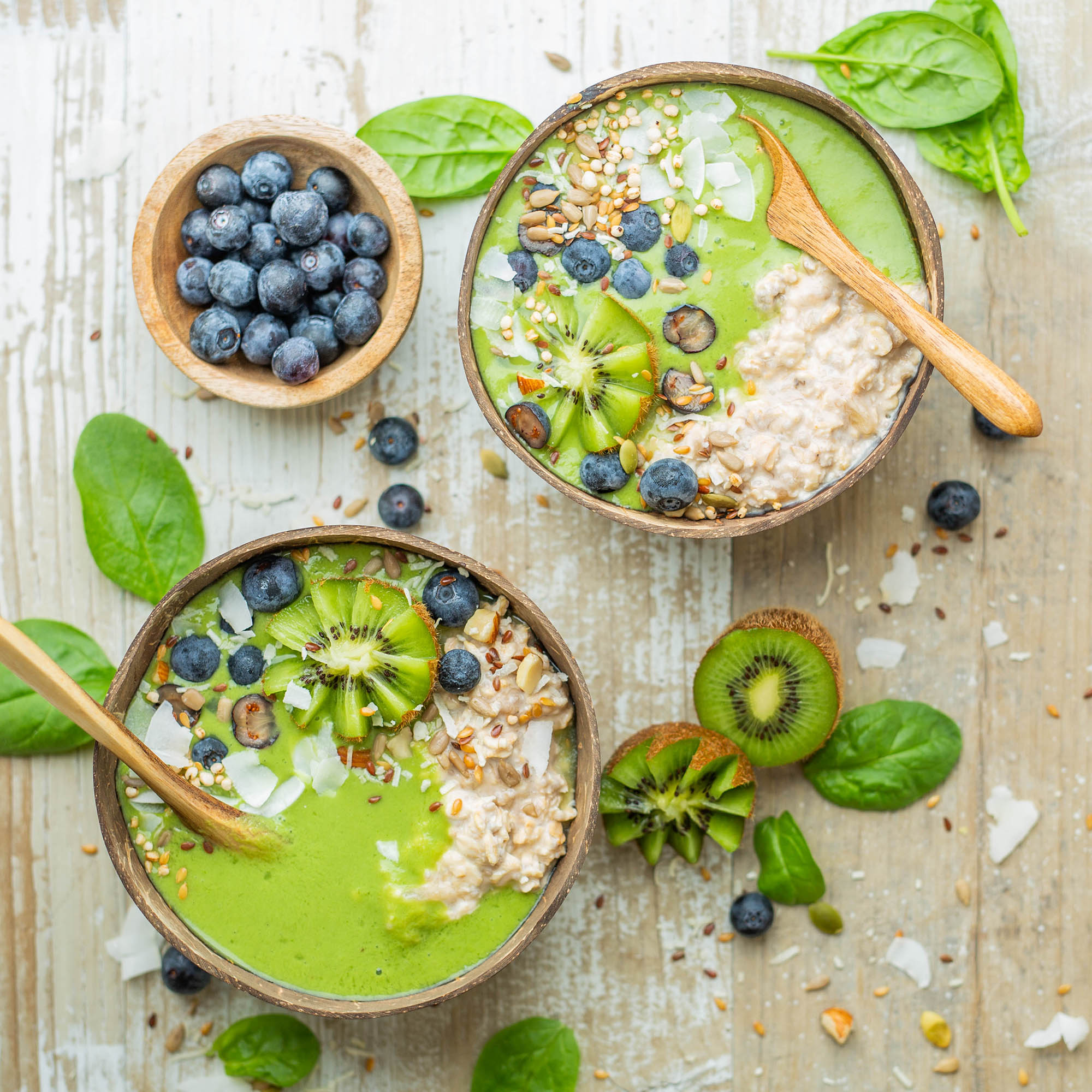 Tropical Dairy Free Green Smoothie Oatmeal Bowl