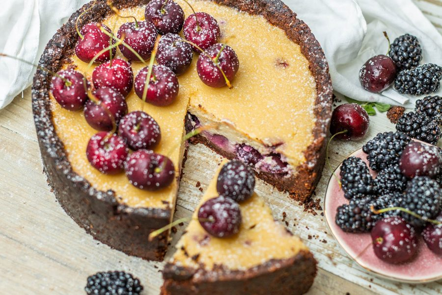 Baked Vegan Black Forest Cheesecake