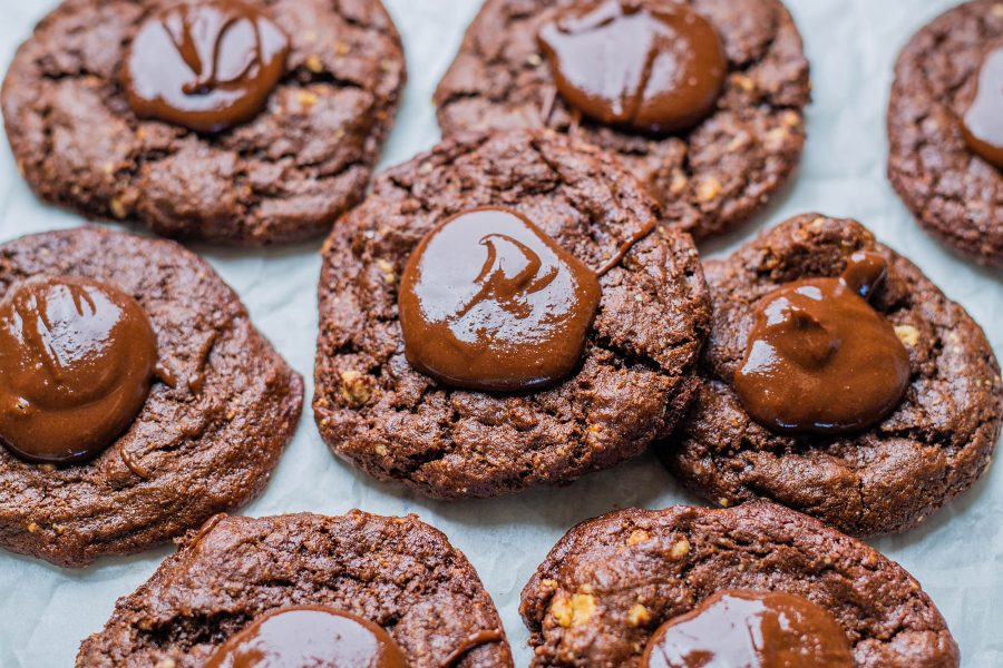 Vegan Gluten-free Chocolate Hazelnut Thumbprint Cookies