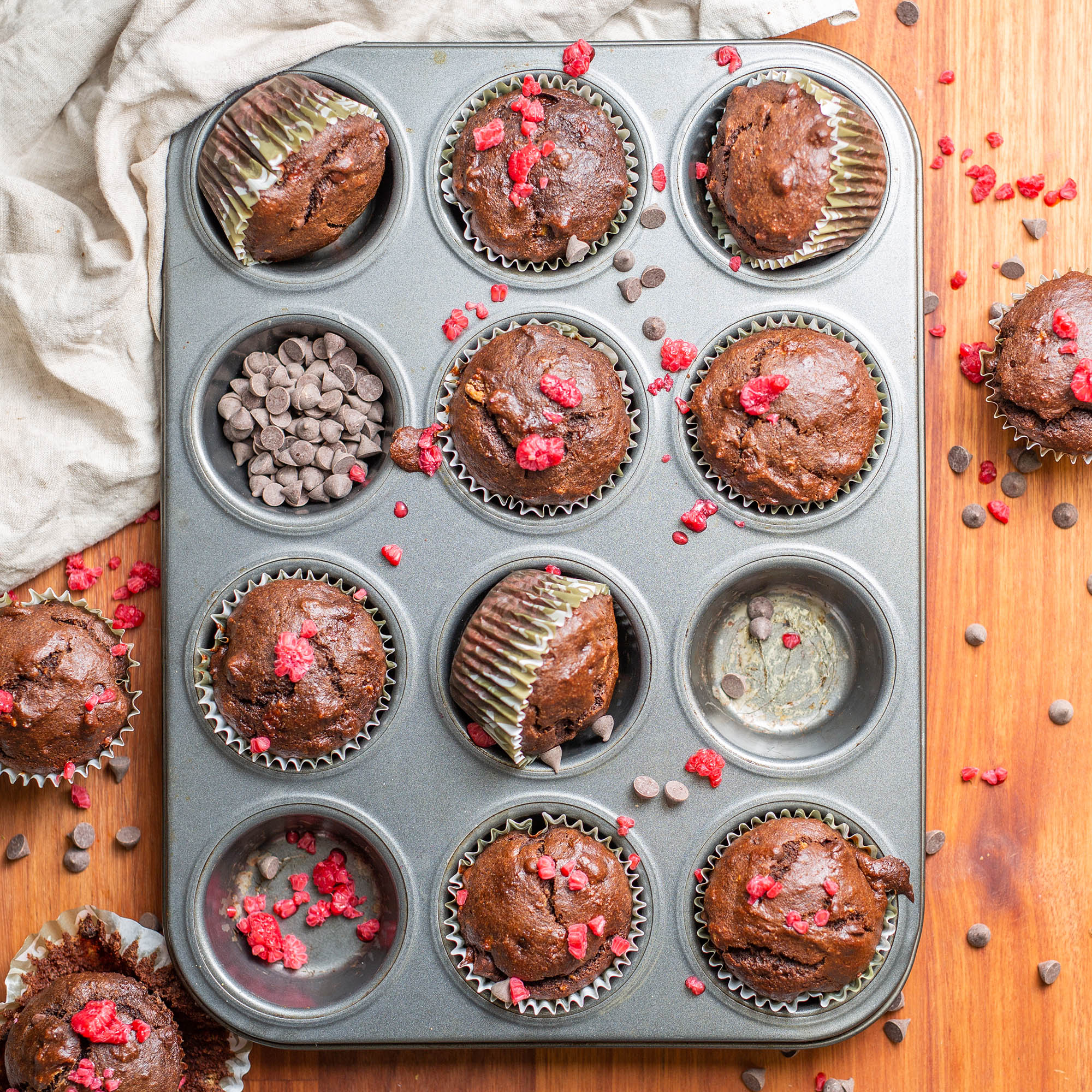 Vegan Double Chocolate Almond Butter Banana Muffins