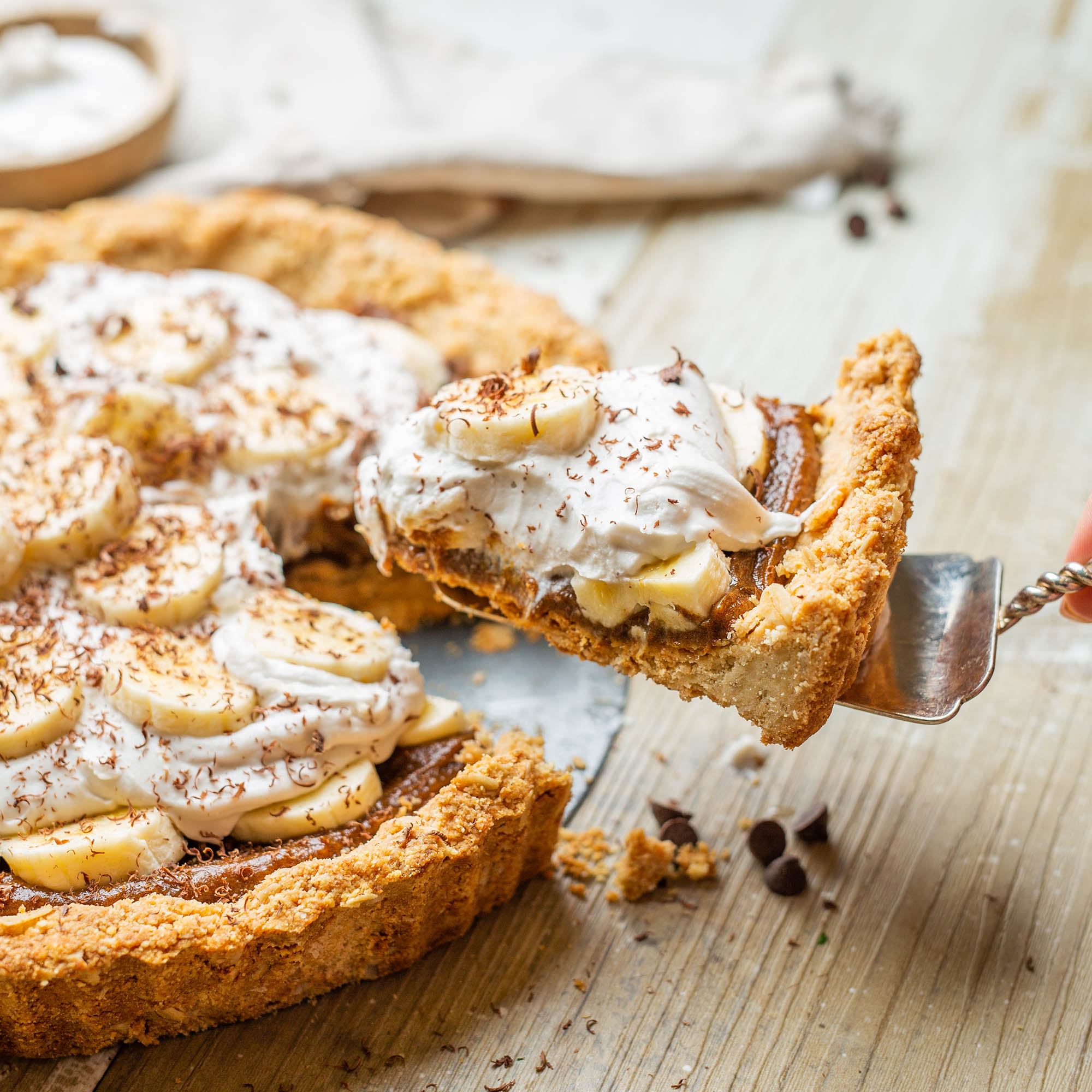 Vegan Refined Sugar Free Almond Banoffee Pie
