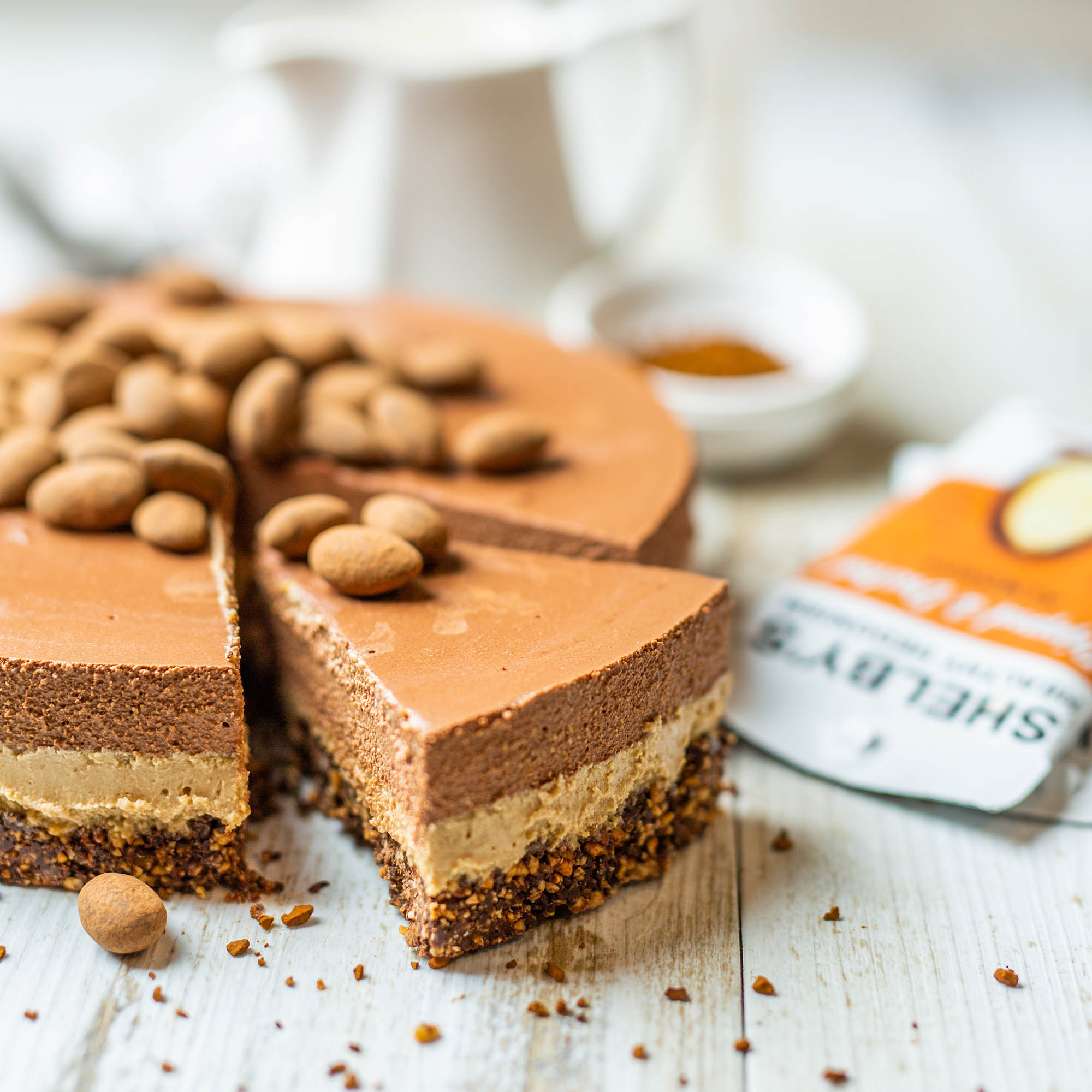 No Bake Vegan Mocha Cake using Shelby's Healthy Hedonism Espresso Almonds