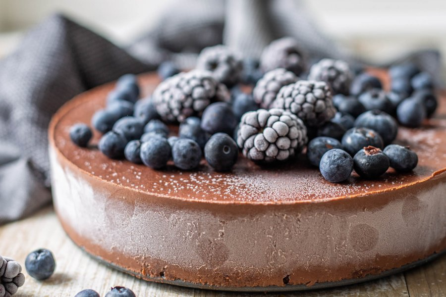 Vegan Chocolate Almond Torte with Dark Berries