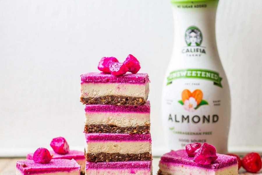 Raw Vegan Dragonfruit Slice with Califia Unsweetened Almond Milk