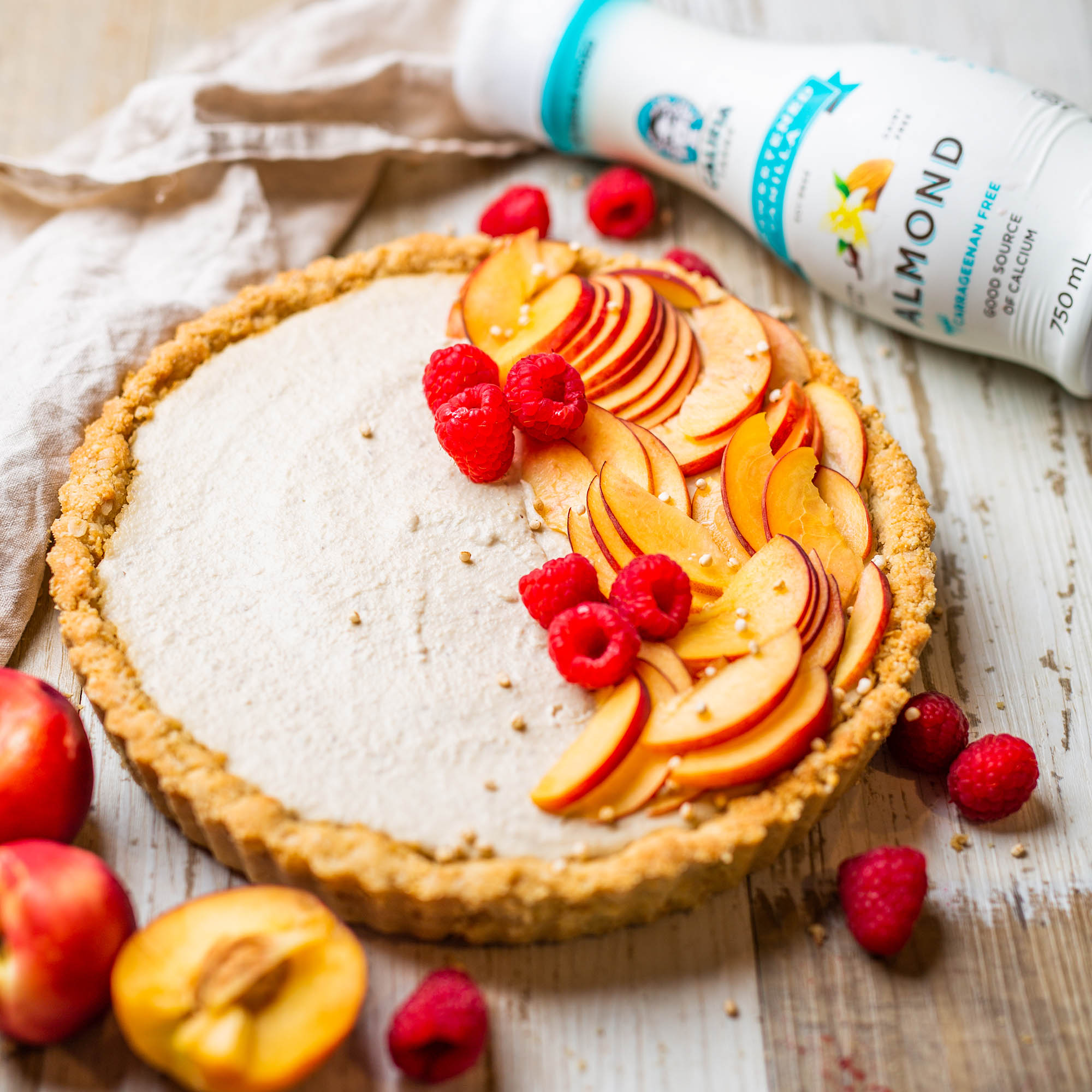 Vegan White Chocolate Nectarine Tart with Califia Unsweetened Vanilla Almond Milk