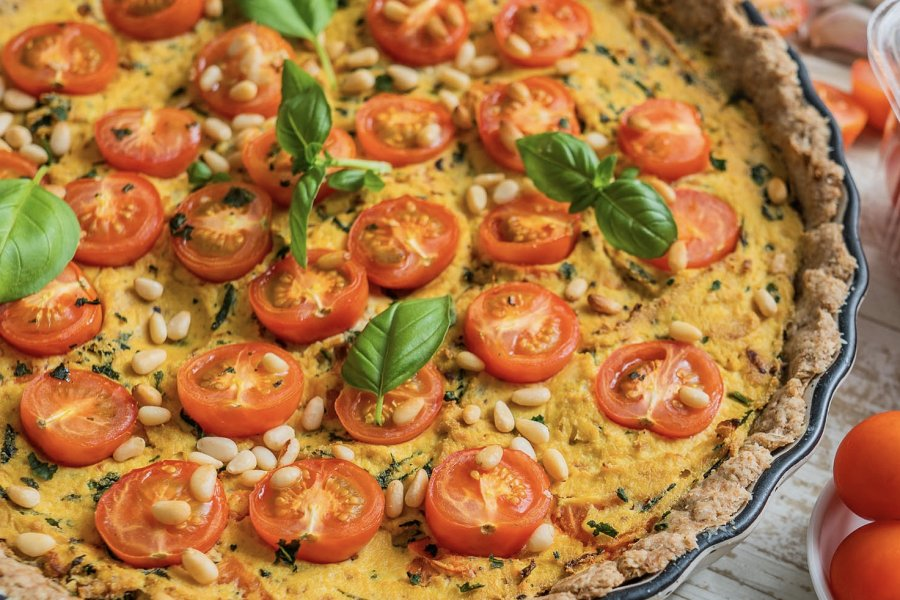 Vegan Tomato and Basil Tofu Quiche with Olive Oil Crust