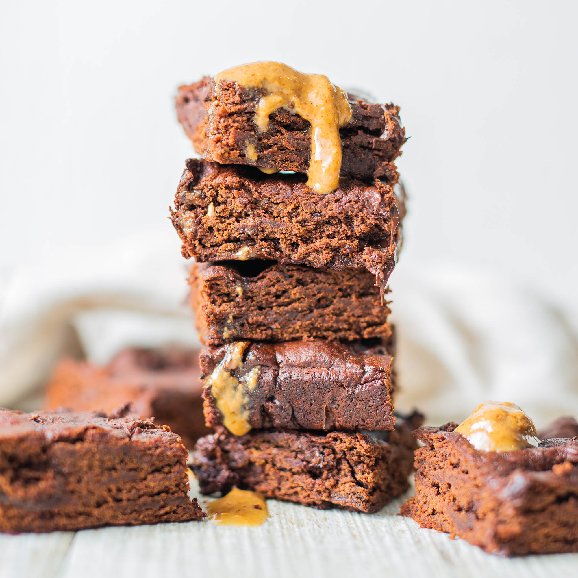 Vegan Chocolate Almond Butter Hemp Brownies- No Flour