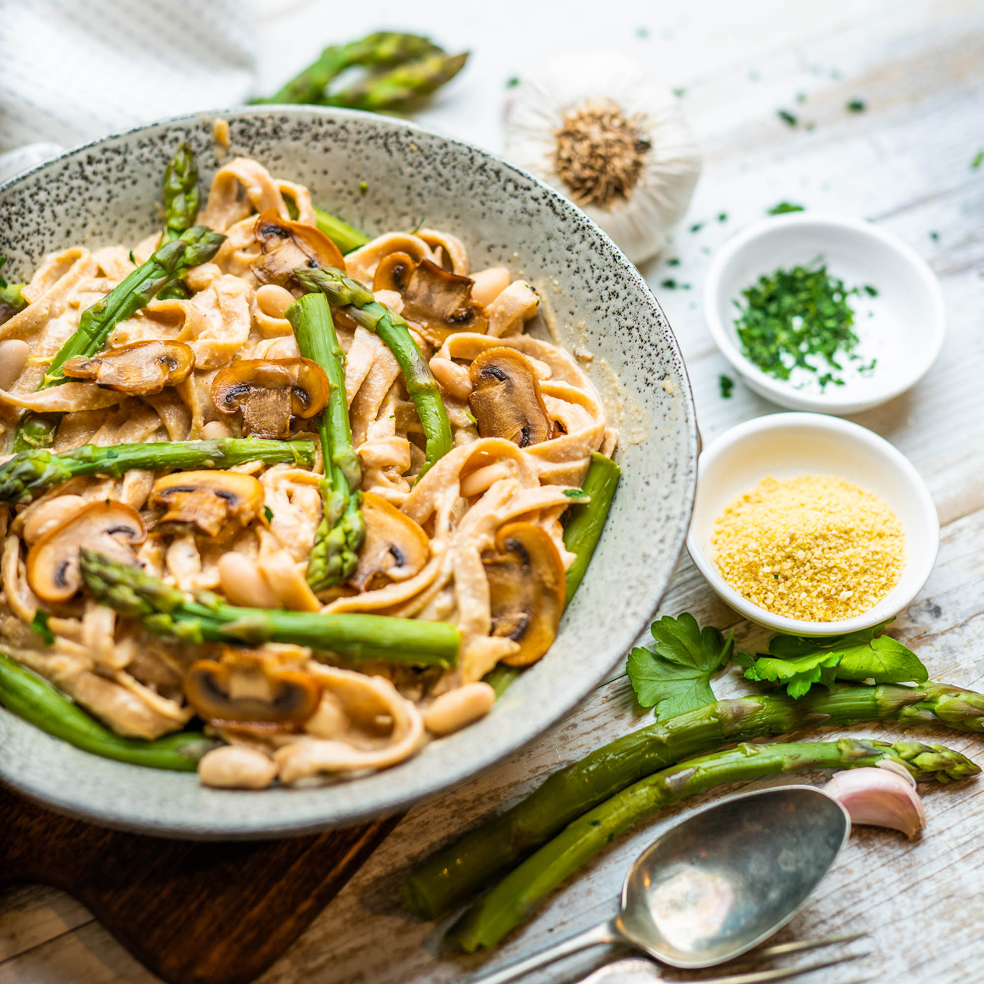 Creamy Vegan Mushroom Pasta With Steamed Greens And White Beans Hazel Cacao